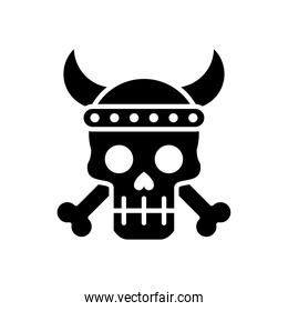 death skull head with bones crossed and horned silhouette style