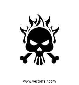 death skull head with bones crossed on fire silhouette style icon