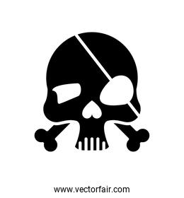 skull head with bones crossed and pirate patch silhouette style icon
