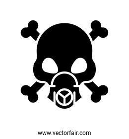 death skull wearing mask with bones crossed silhouette style icon