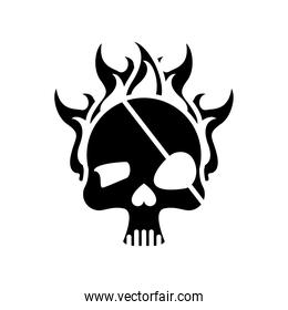 death skull head with pirate patch on fire silhouette style icon