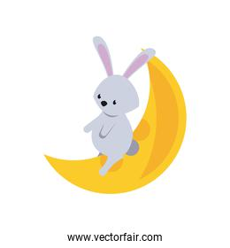 cute rabbit in crescent moon flat style icon
