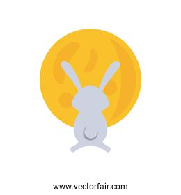 cute rabbit in moon full flat style icon