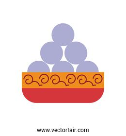 chinese food in dish flat style icon
