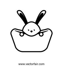 cute rabbit in bed line style icon