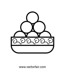 chinese food in dish line style icon