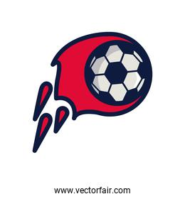 soccer sport balloon on fire line and fill style icon