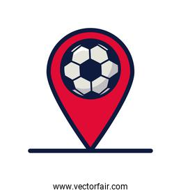 soccer sport balloon in pin location line and fill style icon