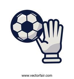 soccer sport balloon with goalkeeper glove line and fill style icon