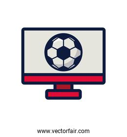 soccer sport balloon in desktop line and fill style icon
