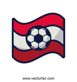 soccer sport balloon in tricolor flag line and fill style icon