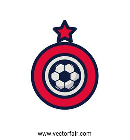 soccer sport balloon with stard award line and fill style icon