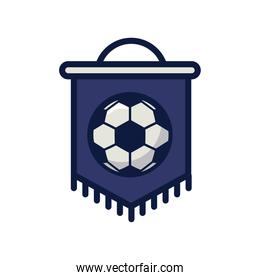 soccer sport balloon in flag hanging line and fill style icon