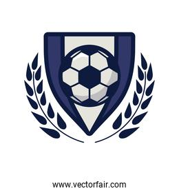 soccer sport balloon in shield with wreath line and fill style icon