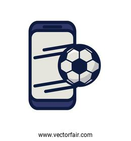 soccer sport balloon in smartphone line and fill style icon