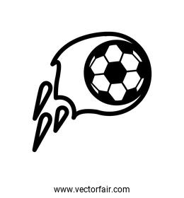 soccer sport balloon on fire line style icon
