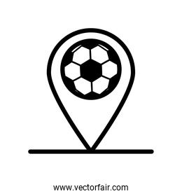 soccer sport balloon in pin location line style icon