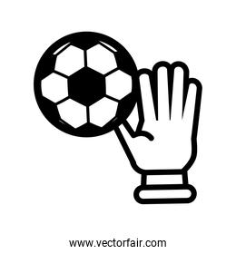 soccer sport balloon with goalkeeper glove line style icon