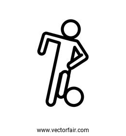 soccer player avatar figure with balloon line style icon