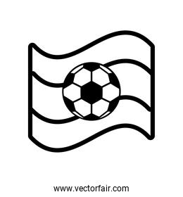 soccer sport balloon in tricolor flag line style icon