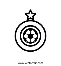 soccer sport balloon with stard award line style icon