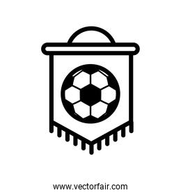 soccer sport balloon in flag hanging line style icon