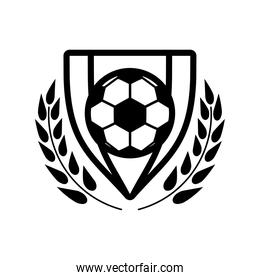 soccer sport balloon in shield with wreath line style icon