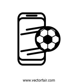 soccer sport balloon in smartphone line style icon