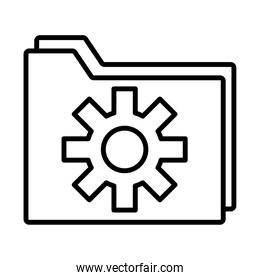 folder with gear settings machine line style icon