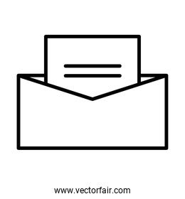 envelope mail open line style isolated