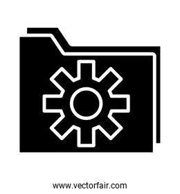 folder with gear settings machine silhouette style icon