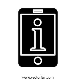 smartphone device technology with internet letter silhouette style icon
