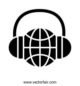 headset with sphere browser call center service silhouette style icon
