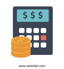 calculator math with coins money flat style icon