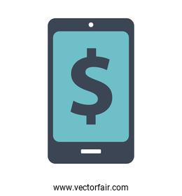 smartphone with dollar symbol flat style