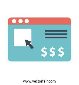 webpage template with money symbols flat style
