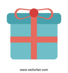 blue and pink gift box present flat style icon