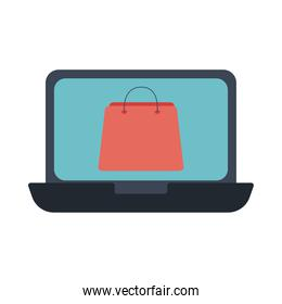 laptop with shopping bag flat style icon