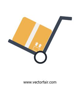 box in cart delivery service flat style icon