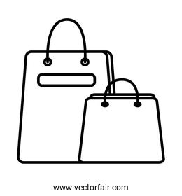 shopping bags line style icons