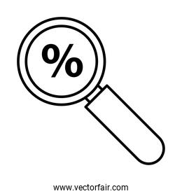 magnifying glass with percent symbol line style