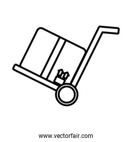 box in cart delivery service line style icon