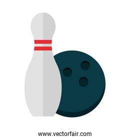 bowling ball and pin equipment game recreational sport flat icon design