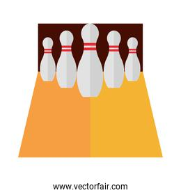 bowling alley with pins game recreational sport flat icon design