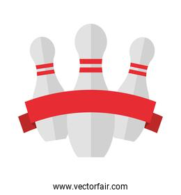 bowling pins with red ribbon emblem game recreational sport flat icon design