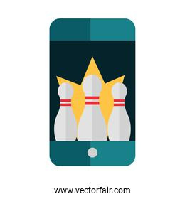 bowling smartphone online app game recreational flat icon design