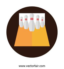 bowling alley with pins game recreational sport block flat icon design
