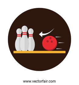 bowling club sport and leisure game block flat icon design