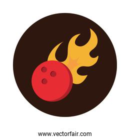 bowling ball with simple flames game recreational sport block flat icon design
