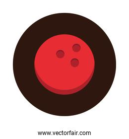 bowling red ball equipment game recreational sport block flat icon design